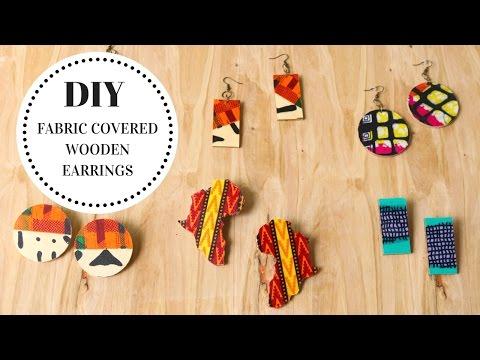 DIY Fabric Covered Wooden Earrings Tutorial