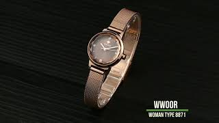 JAM TANGAN WWOOR WANITA 8871 ROSE GOLD Rantai Stainless Mewah Menawan Anti Air Original - wwor