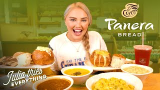 Julia is trying all of panera bread's most famous menu items including the bread bowls, mac and cheese, broccoli cheddar soup, sandwiches, salads so much...