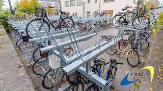 Met Falco's compacte fietsparkeersystemen kan er veel ruimte bespaard worden.