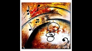 ABSTRACT PAINTING - PAINTING DEPTH AND MOVEMENT WITH MUSICAL NOTES by PETER DRANITSIN