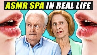Seniors Try An ASMR SPA For The First Time (REACT)