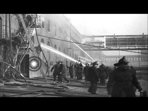 Fire at a meat packing plant in Chicago, Illinois. HD Stock Footage