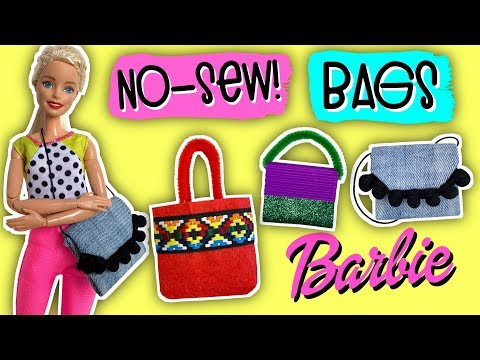 DIY How to Make No-Sew Handbags for your Barbie doll. 3 Models!