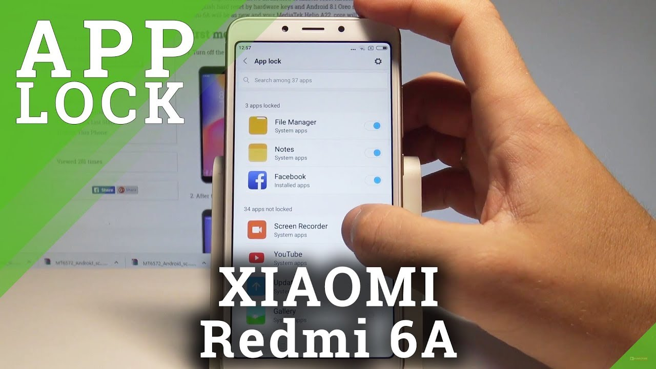 How to Set Up App Lock in XIAOMI Redmi 6A - Add Password to Apps in MIUI