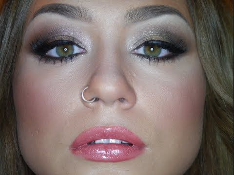 golden glimmer makeup tutorial  christmas party look 1