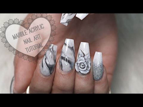 How to Art Marble Acrylic Nails
