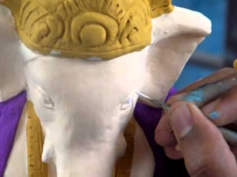 Process Of Painting Ganesh Idol Youtube