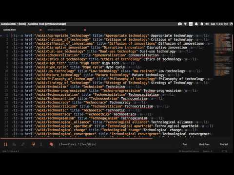 Using Regular Expression In Sublime Text 3 - Select Between Html Tags