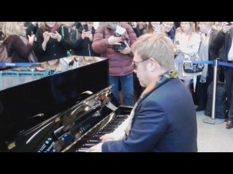 Elton John performs at St Pancras London!!