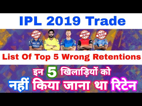 IPL 2019 Trade - List Of All 5 Wrong Retention & Players Before Auction | My Cricket production