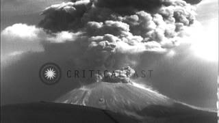 Lava dust clouds blow from Mount Vesuvius and United States A20 in flight, Naples...HD Stock Footage
