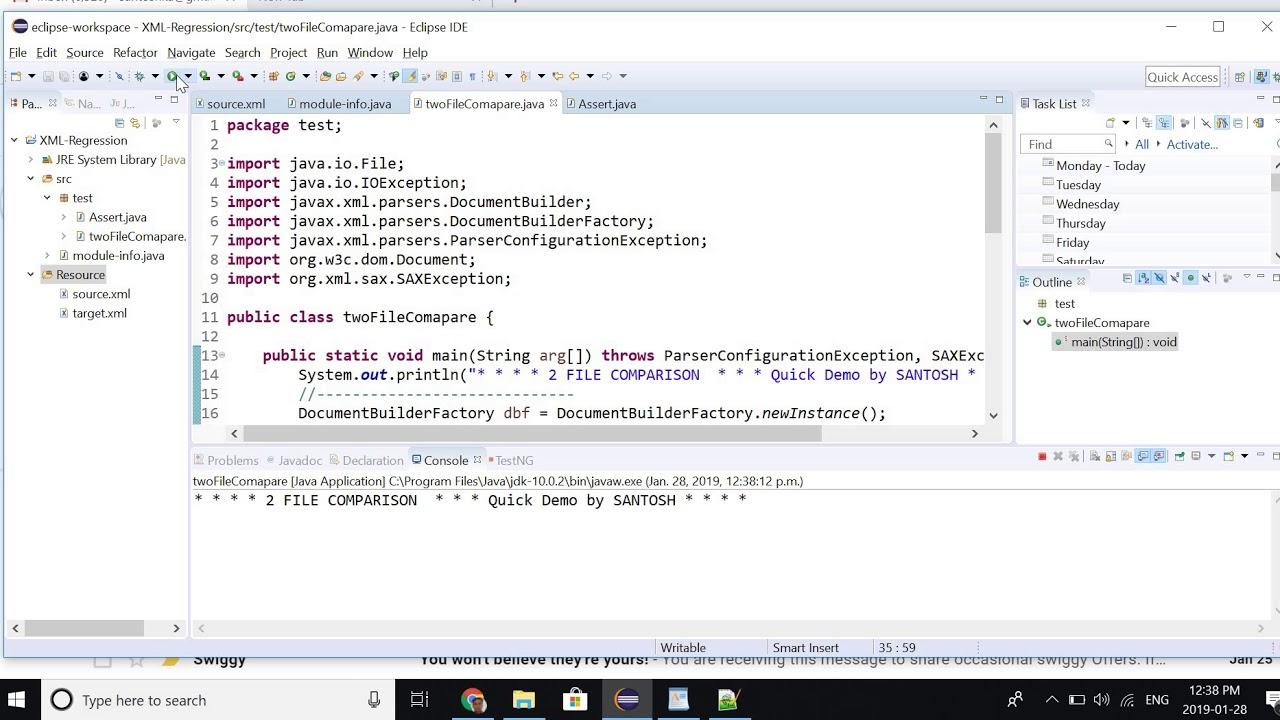 2 Xmlfile Comparison Using Java Api And Xml Tools Youtube