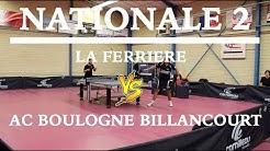 LA FERRIERE VS AC BOULOGNE BILLANCOURT / NATIONALE 2 / TENNIS DE TABLE / HIGHLIGHTS