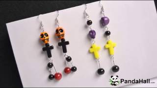 PandaHall Video Tutorial on Halloween Skull Earrings