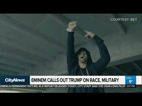 Rapper Eminem takes aim at Donald Trump in freestyle rap