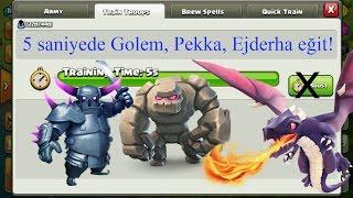 5 saniyede Golem, Pekka, Ejderha eğit!   Clash of Clans (Oyun açığı düzeltildi)