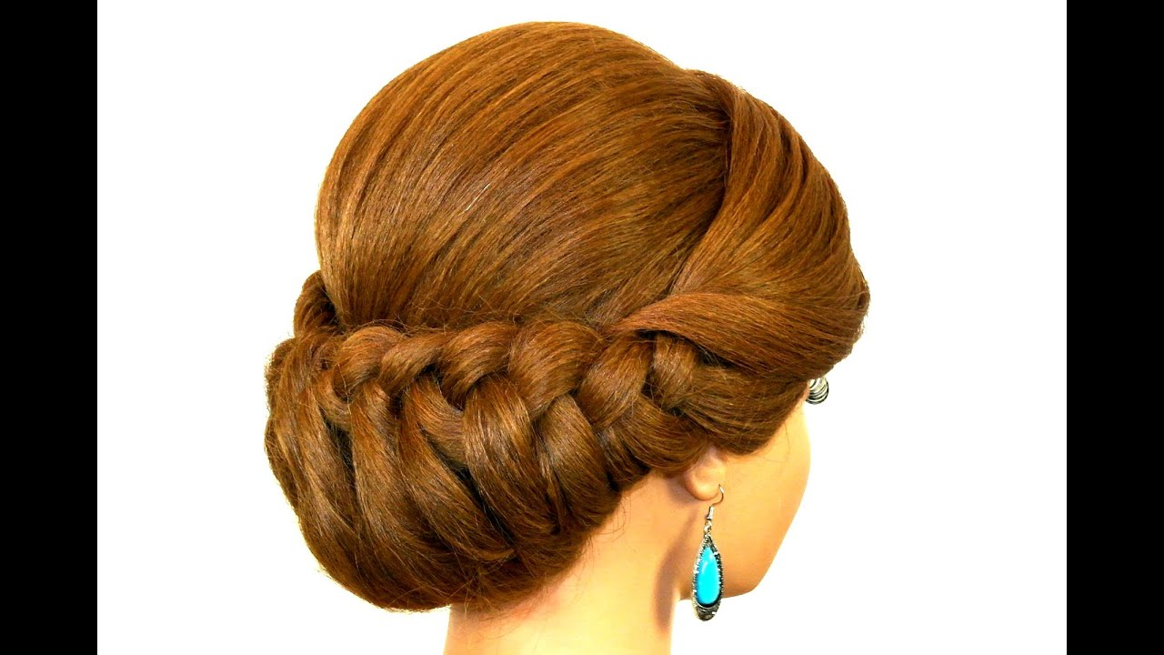 Braided Updo Hairstyle For Medium Long Hair Youtube