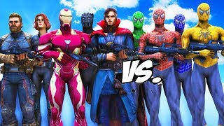 Spider-Man, Green Spiderman, Blue Spiderman, Yellow Spiderman VS The Avengers