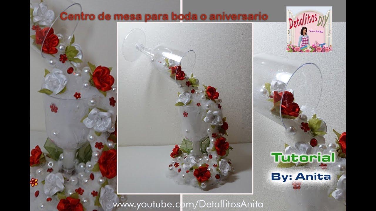 Centro de mesa para boda o aniversario YouTube -> Como Decorar Mesa De Aniversario Com Flores