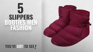 Top 10 Slippers Booties [Men Fashion Winter 2018 ]: Cozy Quilted Down Warm House Clog Slippers