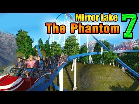Planet Coaster - THE PHANTOM steel coaster + fountain! - Mirror Lake ep. 7