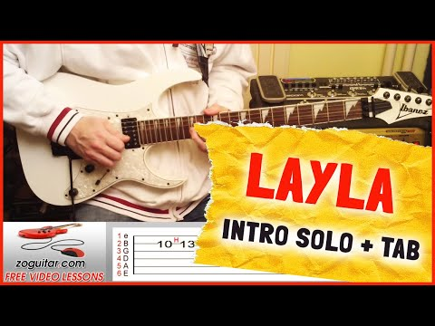 How To Play Layla by Eric Clapton on Guitar (intro solo) + TAB