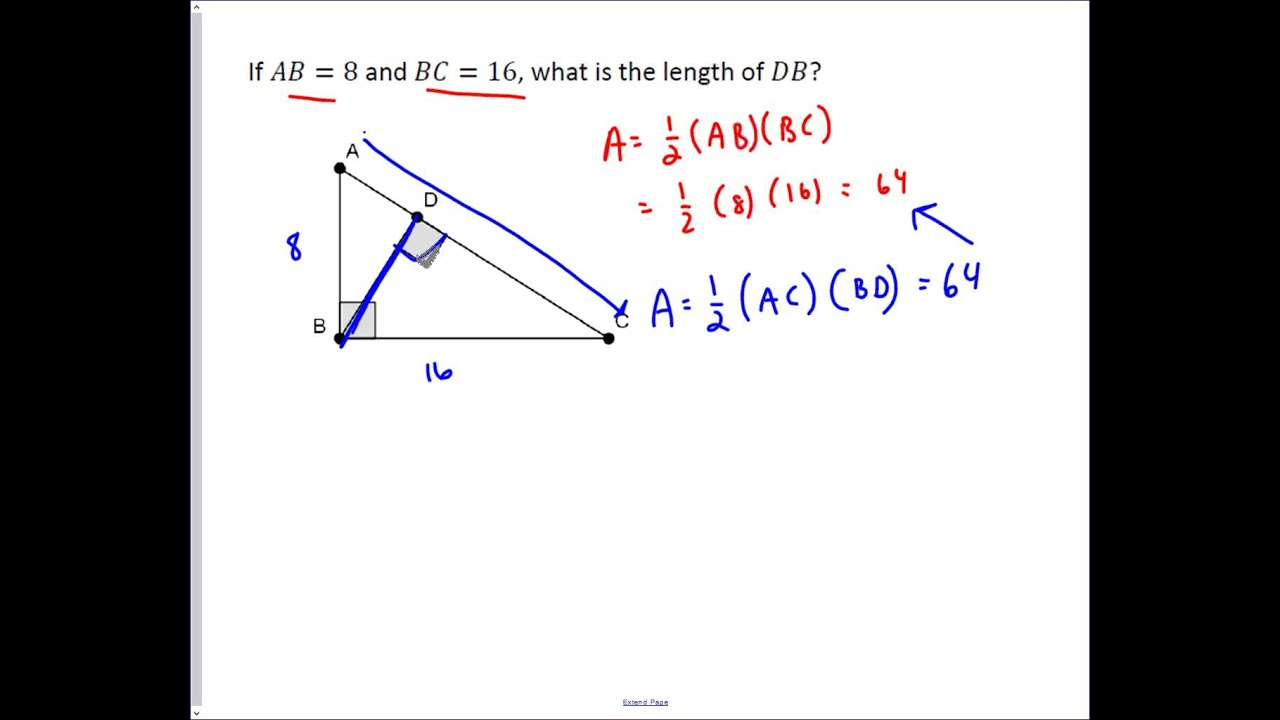 Finding The Altitude To The Hypotenuse Of A Right Triangle Youtube