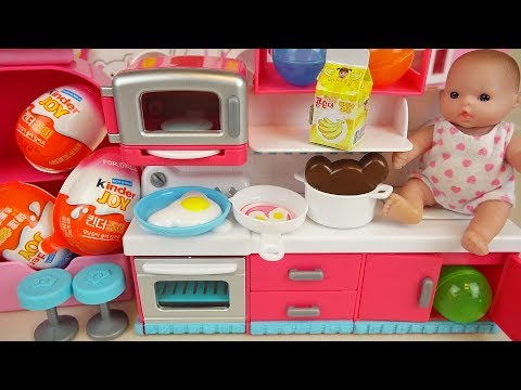 Thumbnail: Baby doll kitchen and surprise eggs Kinder joy toys play