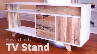 DIY Plywood and Reclaimed Pallet Wood TV Stand / Media Console - How to Make It