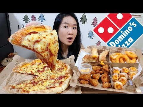 DOMINO'S CHEESY FEAST! Cheddar Cheese Crust Pizza, Onion Rings, Bread Sticks | Eating Show Mukbang