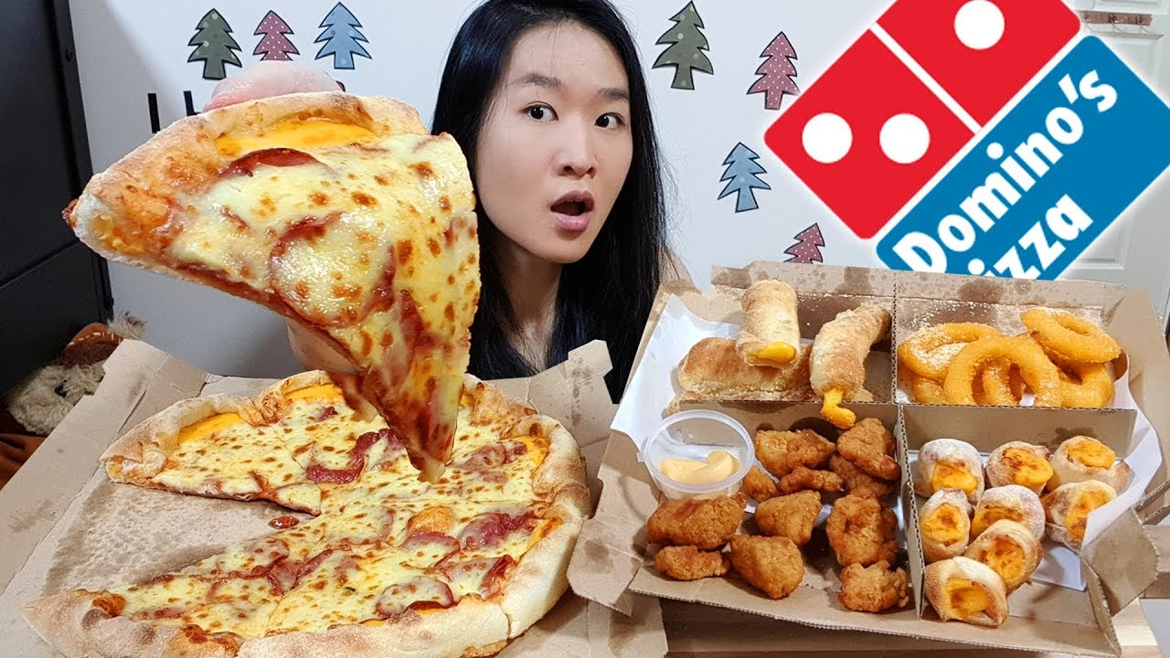 Dominos Cheesy Feast Cheddar Cheese Crust Pizza Onion Rings Bread Sticks Eating Show Mukbang