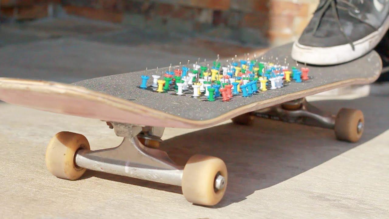 thumbtacks on skateboard youtube