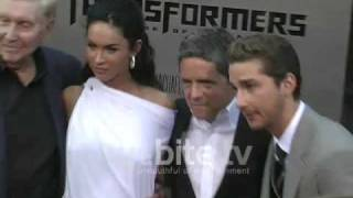 Megan Fox and ShiaLabeouf pose and sign autographs at Transformers 2 Premiere in Los Angeles