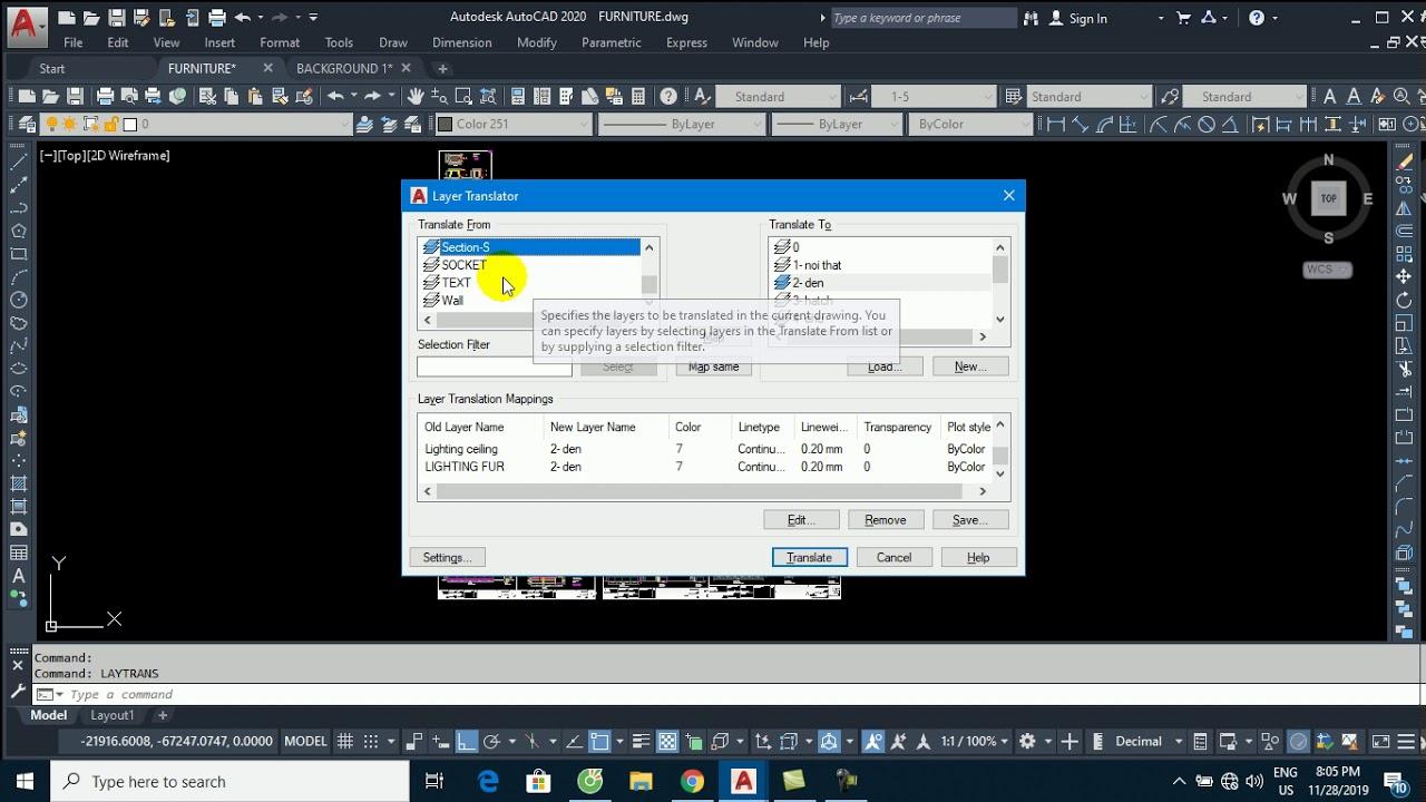LAYTRANS là lệnh CAD nâng cao rất hay dùng để chuyển đổi layer trong AutoCAD