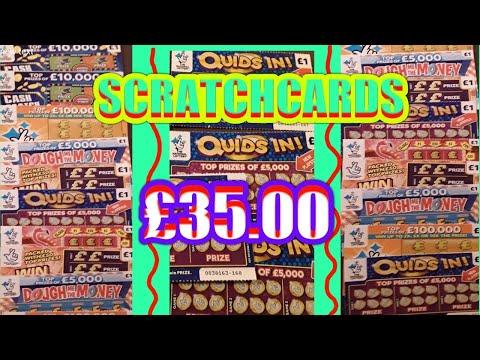 £35.00 worth of SCRATCHCARDS...CASH LINES..INSTANT £100..WIN £50..QUIDS IN..£100,000 Orange..