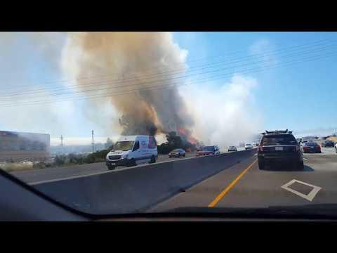 Terrible fire near Bayshore road (101) bay area Silicon valley San Carlos