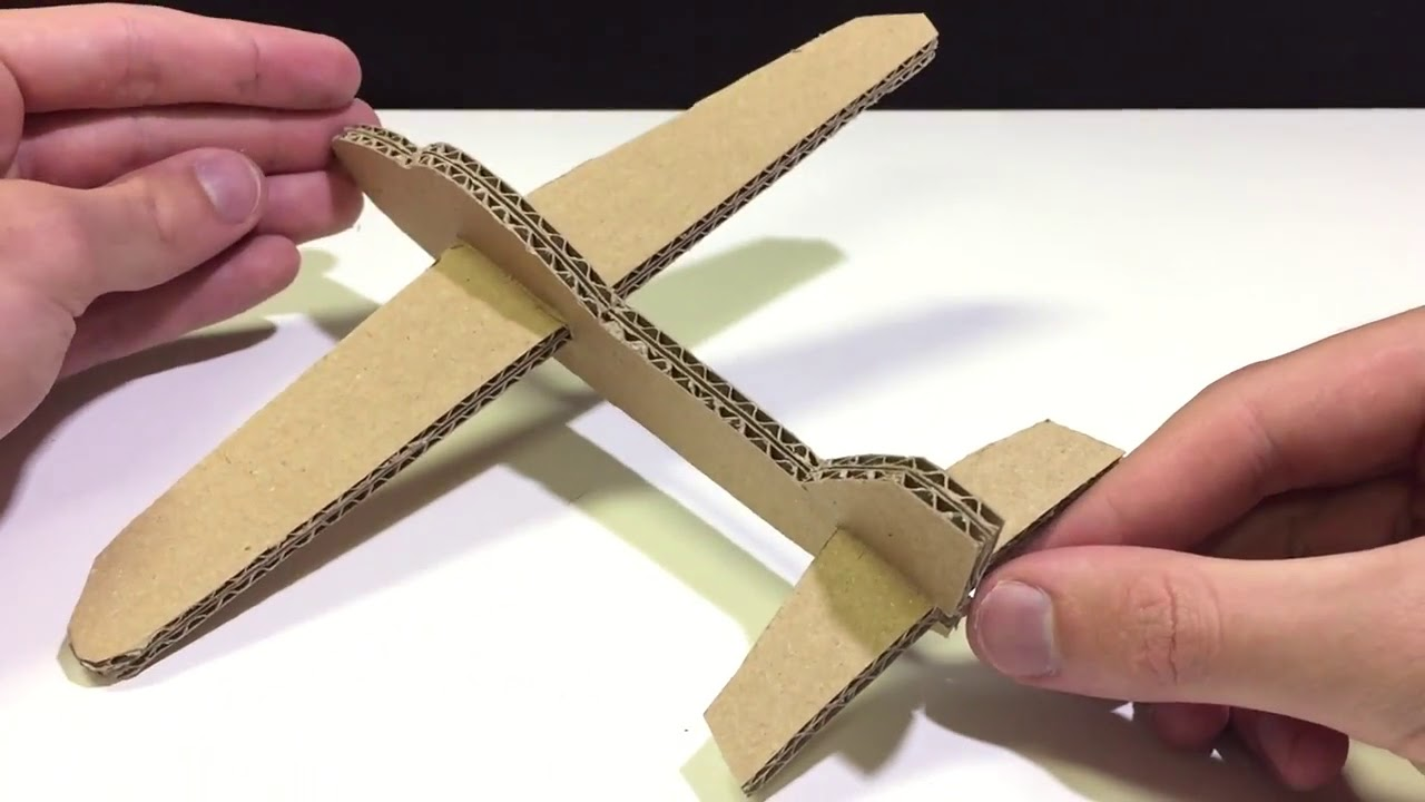 How to make a cardboard airplane that flies youtube for Cut out airplane template