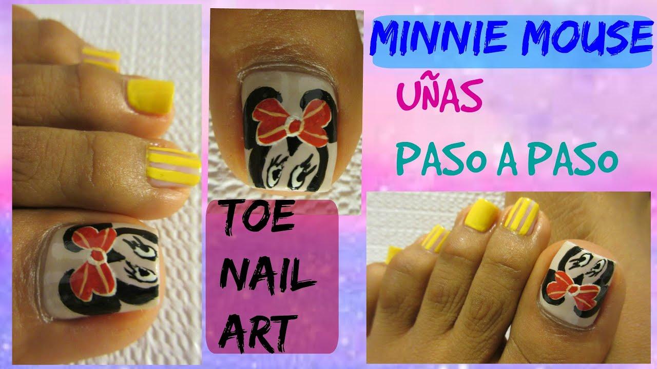 Minnie mouse Uñas decoradas de los pies /Minnie cute design toe nail ...