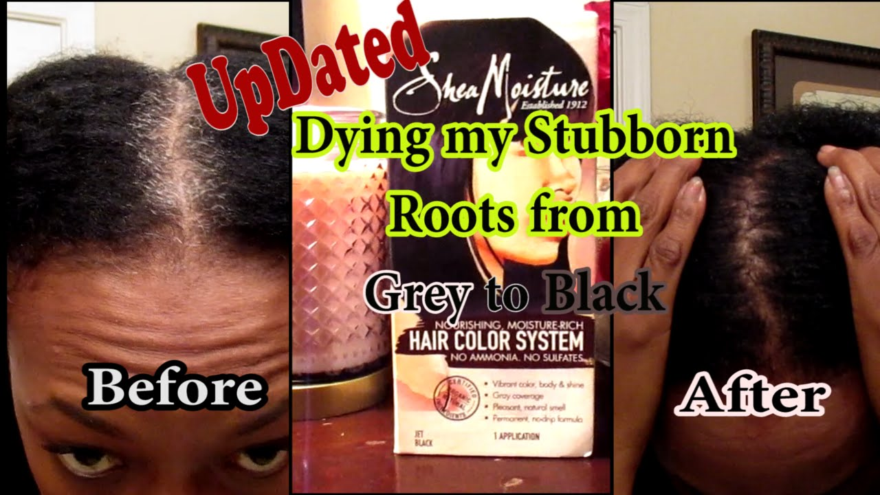 Updated: Dying my Stubborn Roots from Grey to Black| Shea Moisture ...