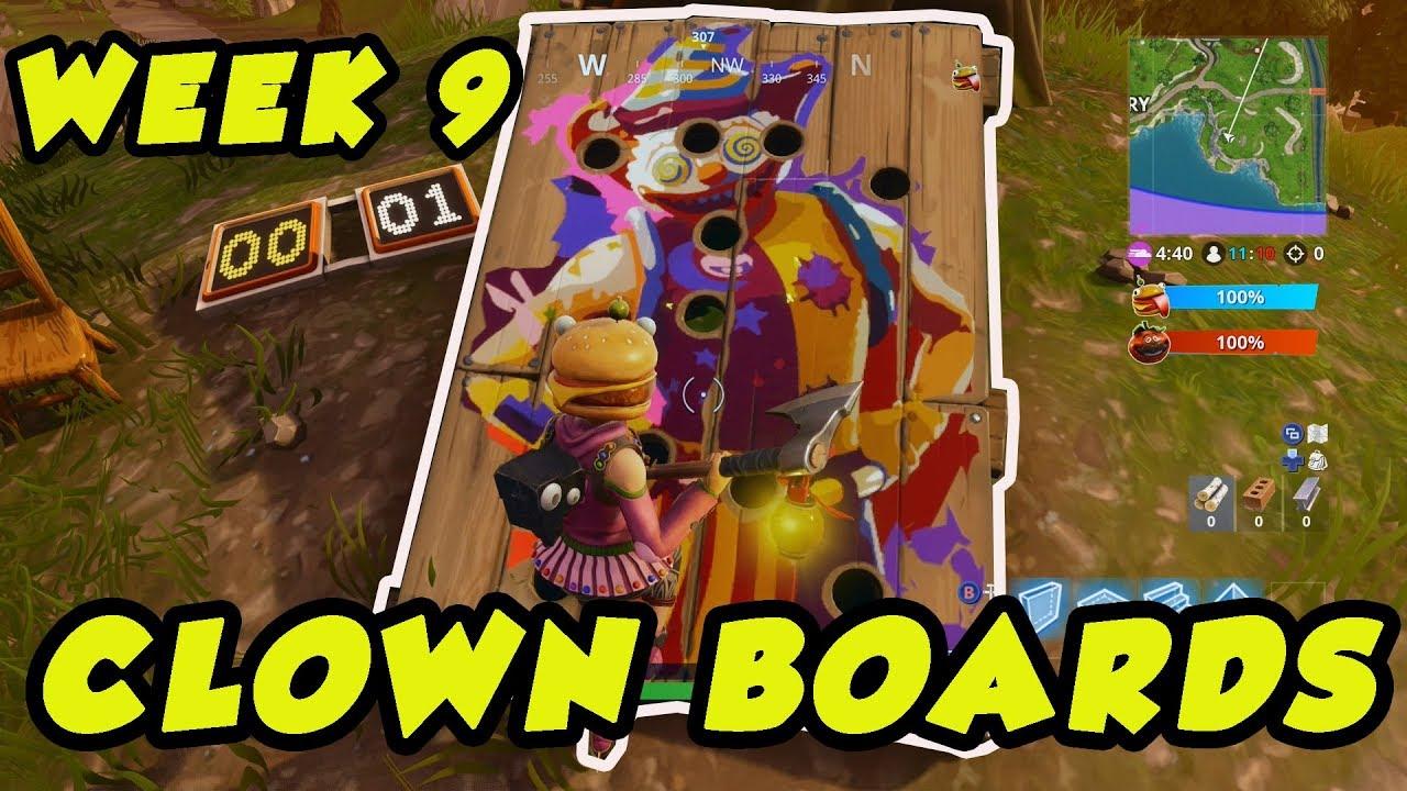 fortnite carnival clown board locations week 9 season 6 - fortnite carnival locations