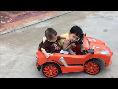 Funny Baby Driving Car with His Brother