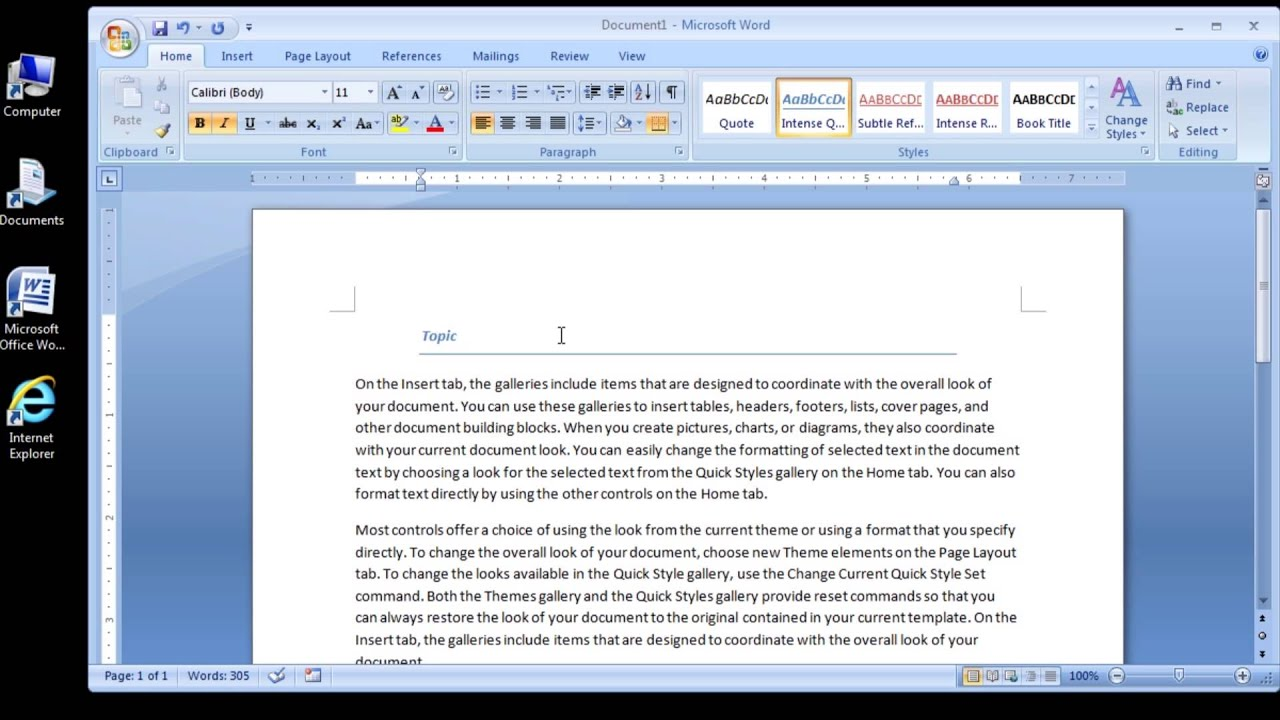 microsoft word 2007 format a heading with intense quote style