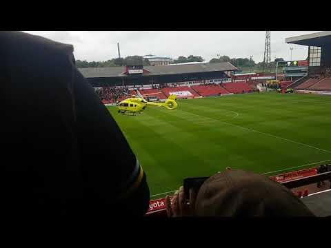 Air ambulance lands at Oakwell Stadium