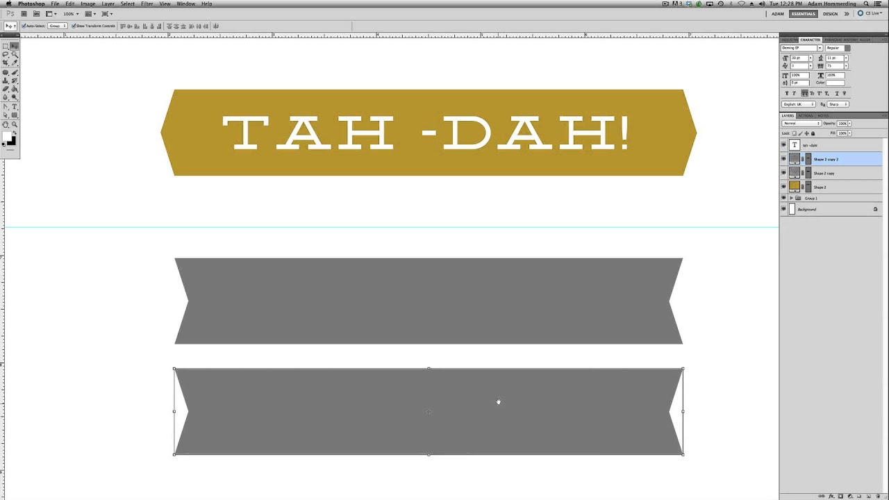 creating banner shapes in photoshop