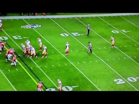 San Francisco 49er LJ McCray puts giant hit on Denver Broncos punt returner