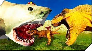 АКУЛА МЕГАЛОДОН СОЖРАЛА ТИРАННОЗАВРОВ - Игра Beast Battle Simulator. Битва динозавров