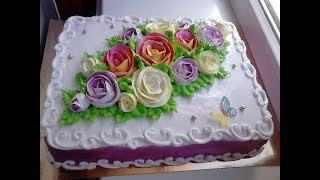 Торт с двух цветными розами