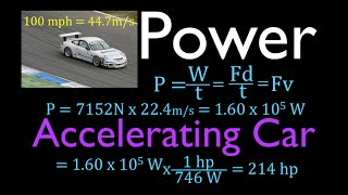 Physics, Power, Calculate the Average Power Output of an Accelerating Car