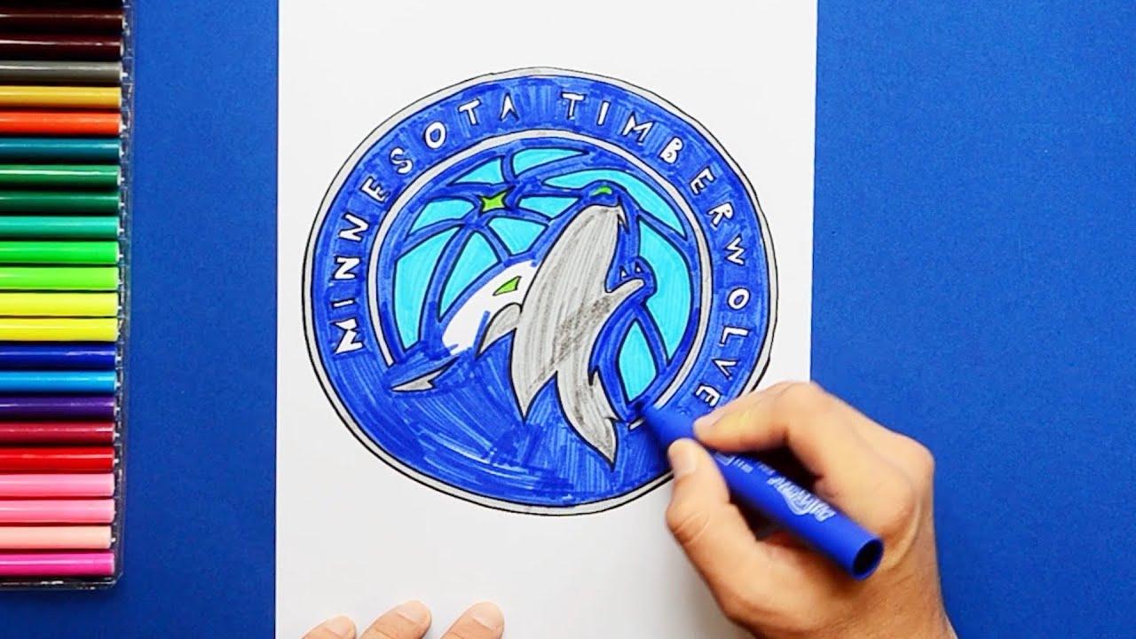 How To Draw The Minnesota Timberwolves Logo Nba Team Youtube